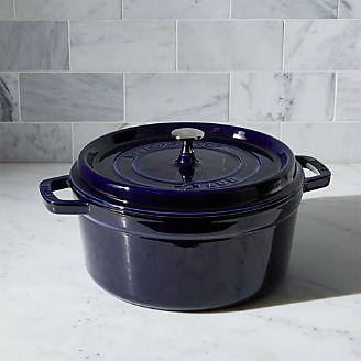 staub 55qt round dark blue cocotte