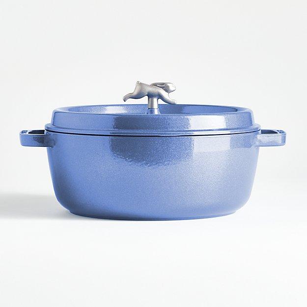 Staub ® 6-Qt. Metallic Blue Wide Round Cocotte with Rabbit Knob - Image 1 of 3