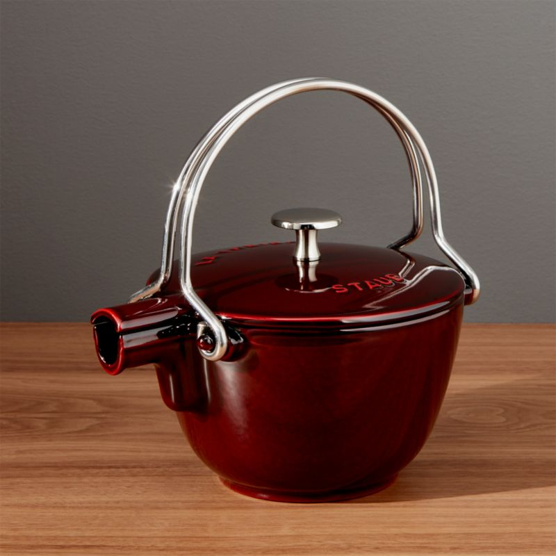 Staub Red Cast Iron Tea Kettle Reviews Crate And Barrel