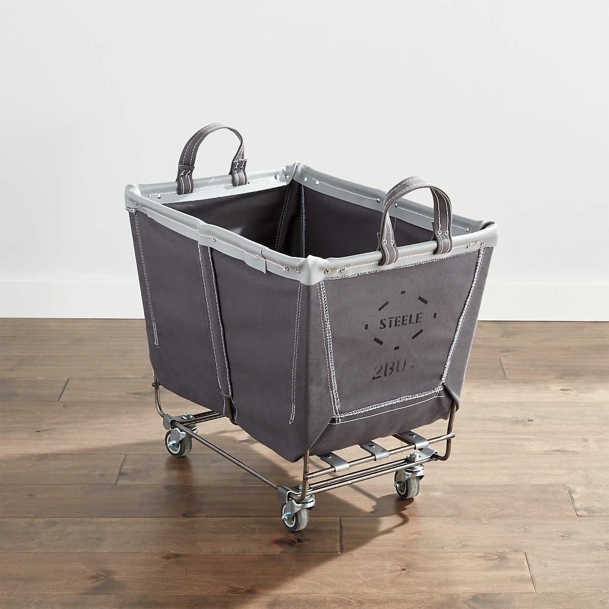 Steele Medium Rolling Laundry Basket Briquette Reviews Crate And Barrel