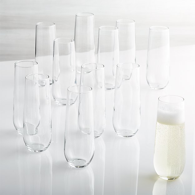 Stemless Flute Glasses 9 oz., Set of 12
