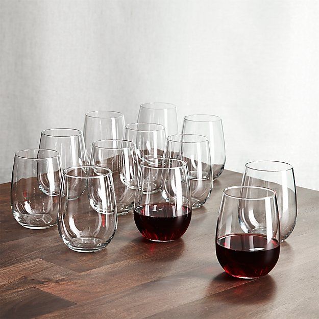 65c37d668ee Stemless Wine Glasses 17 oz., Set of 12 + Reviews | Crate and Barrel