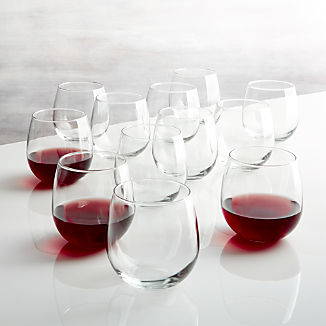 Stemless Red Wine Glasses 17 oz., Set of 12