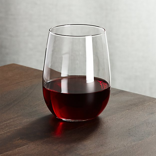 Stemless red wine glass 17 oz crate and barrel - Stemless wine goblets ...