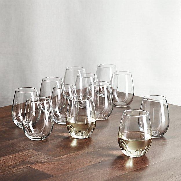 stemless wine glasses oz set of 12 crate and barrel. Black Bedroom Furniture Sets. Home Design Ideas