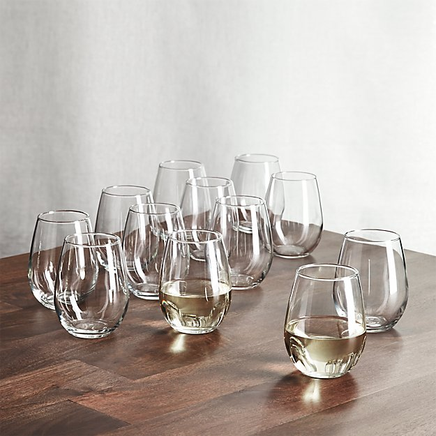 stemless wine glasses 11 75 oz set of 12 reviews crate and barrel