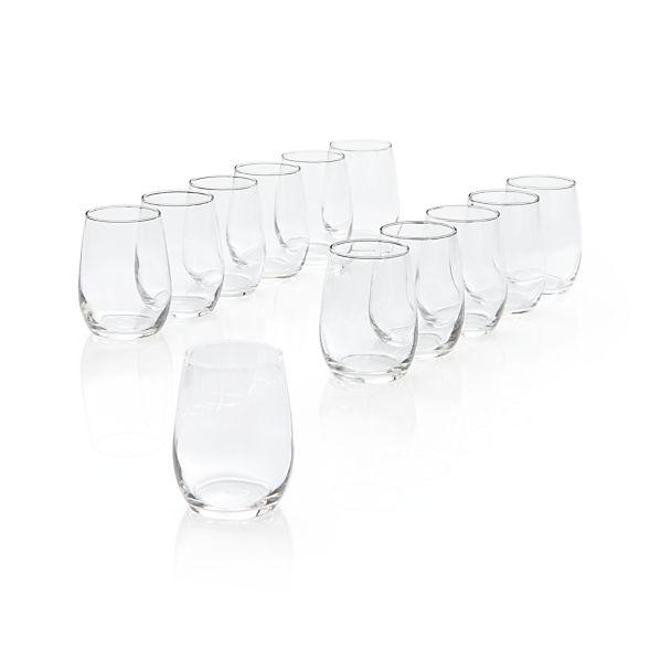 Set of 12 Stemless Wine Taster Glasses