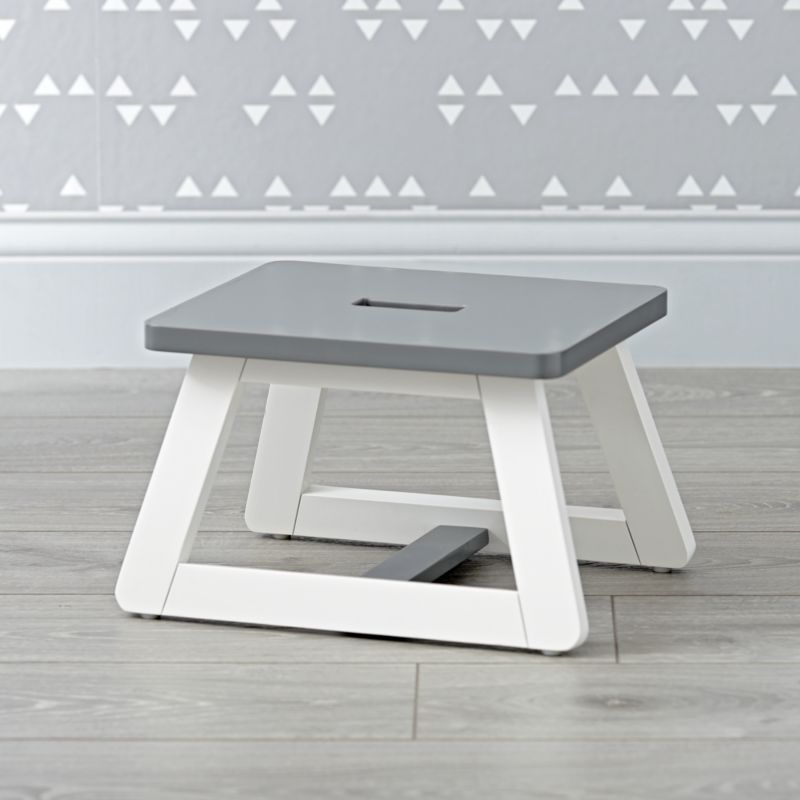 Gage Grey And White Step Stool Reviews Crate And Barrel