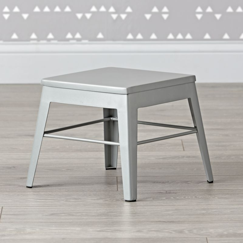 Squared Up Steel Grey Step Stool Crate And Barrel