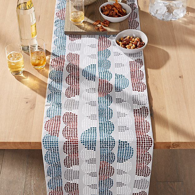 """Stippled Scallop Easy-Care 90"""" Table Runner - Image 1 of 3"""
