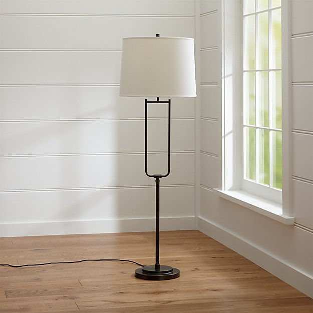 Stirrup antique bronze floor lamp crate and barrel for Bronze floor lamp nz