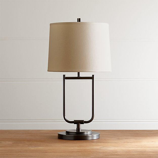 Stirrup antique bronze table lamp crate and barrel for Bronze floor lamp nz