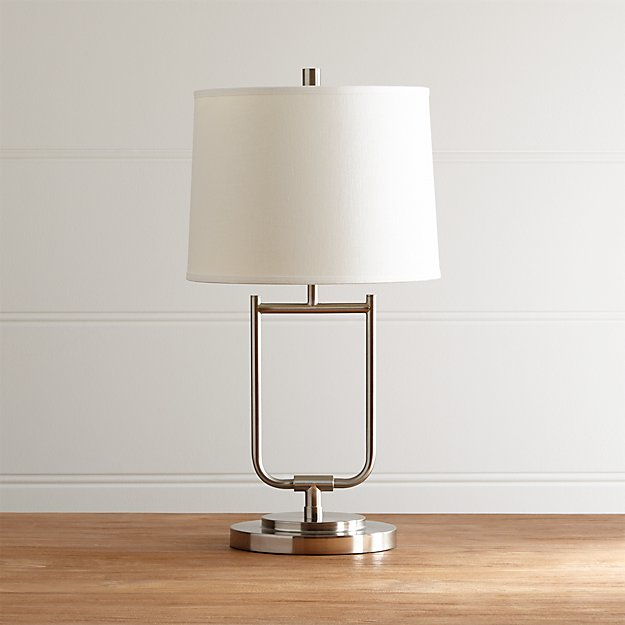 stirrup brushed nickel table lamp crate and barrel. Black Bedroom Furniture Sets. Home Design Ideas