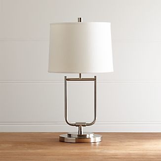 Table Lamps for Bedside and Desk | Crate and Barrel:Stirrup Brushed Nickel Table Lamp,Lighting