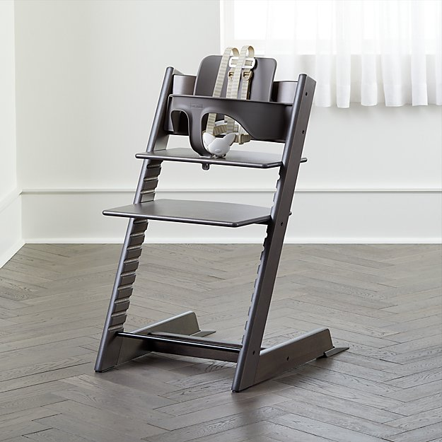 Hazy Grey Stokke Tripp Trapp Chair Baby Set + Reviews | Crate and Barrel