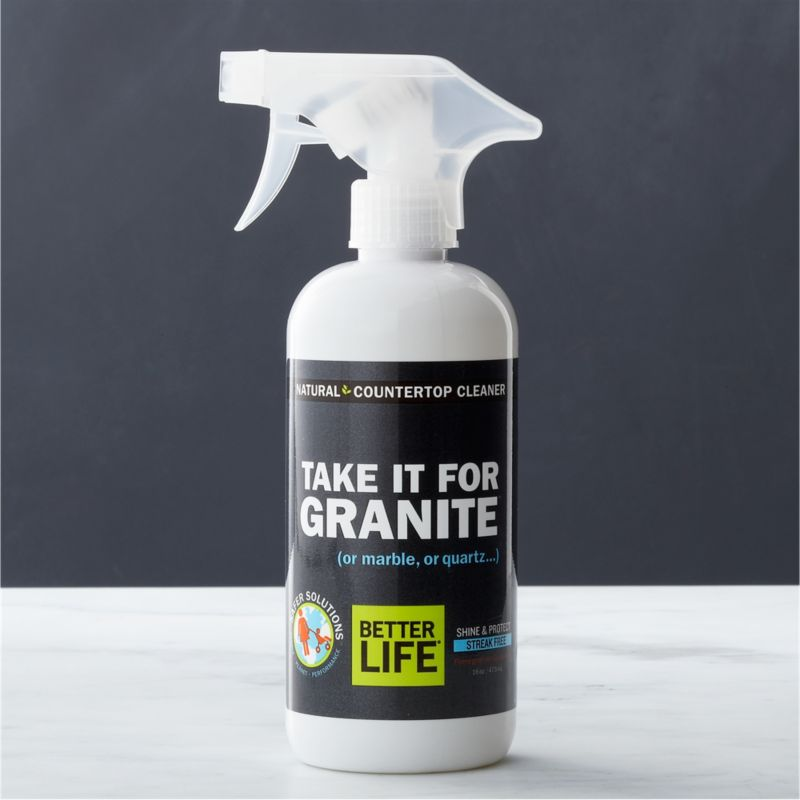 Aspire to a healthier clean for your home. This eco-friendly, non-abrasive stone cleaner is better for people, pets and the planet. Carefully formulated in the USA with natural ingredients, this plant-based solution with a coconut base naturally cleans, polishes and protects granite, marble, quartz, slate, concrete, limestone, soapstone, terrazzo and other sealed stone counters, vanities and tabletops. All this streak-free cleaner leaves behind is the fresh scent of pomegranate and grapefruit. Free of solvents, alcohol, synthetic fragrances and dyes, this hypoallergenic polish is a smart choice for sensitive skin.<br /><br />As parents of young children, lifelong friends Tim Barklage and Kevin Tibbs became concerned about toxic residues left behind by traditional cleaners. Tim challenged Kevin, an innovative chemist, to create a cleaning product that would set the standard for safety. In 2007, they founded Better Life™, a better line of products and a better life for all.<br /><br /><NEWTAG/><ul><li>Created by Better Life™</li><li>Eco-friendly stone cleaner that's safe for kids and pets</li><li>Formulated with natural and plant-based ingredients including purified water, blend of coconut surfactants, coconut oil and essential oils</li><li>Non-toxic, solvent-free</li><li>Contains no petroleum, alcohol, artificial color or fragrance</li><li>Gluten-free, hypoallergenic and 100% biodegradable</li><li>Not tested on animals</li><li>Safe for waterways and marine life</li><li>Made in USA</li></ul>