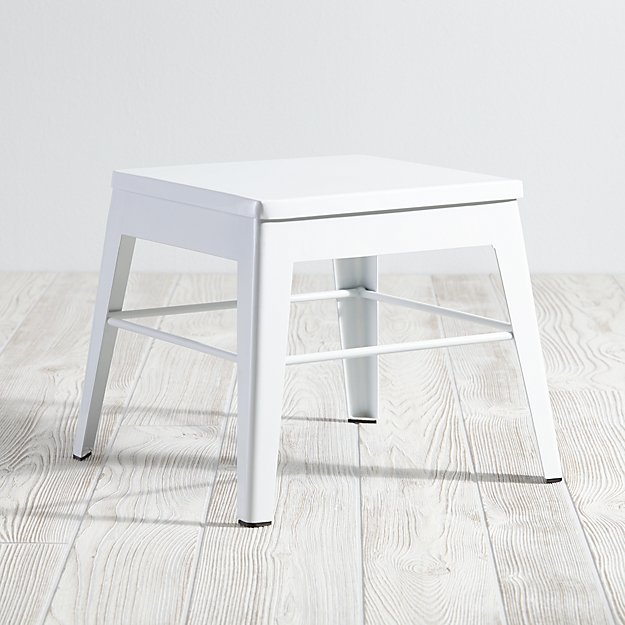 White Metal Stool In Step Stools Reviews Crate And Barrel