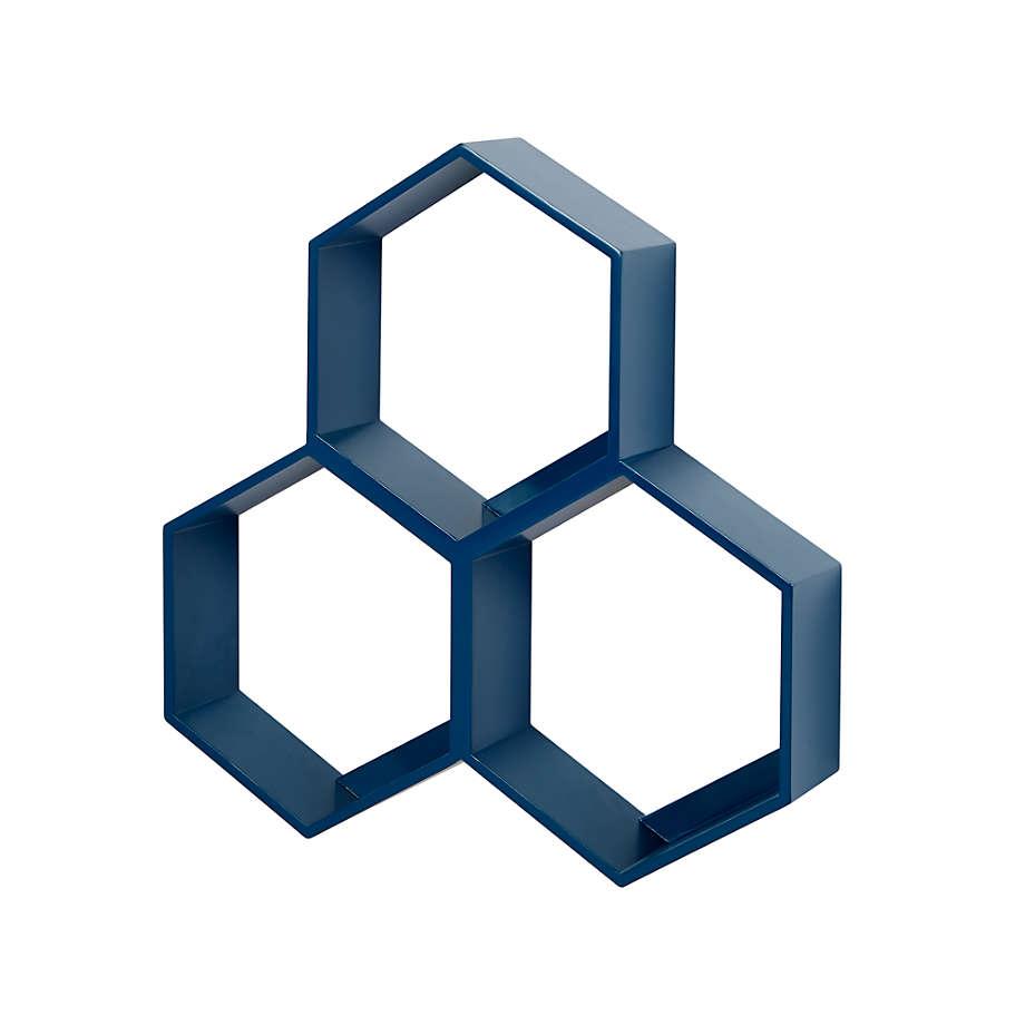 Honeycomb Blue Hexagon Shelf Reviews Crate And Barrel