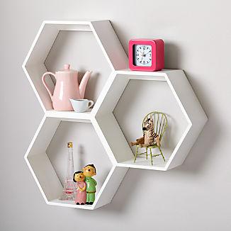 Honeycomb White Hexagon Shelf