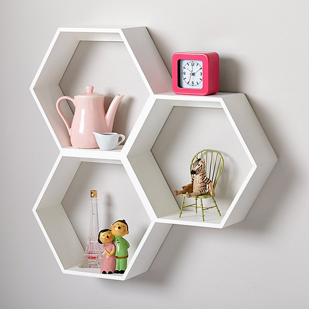 honeycomb white hexagon shelf reviews crate and barrel. Black Bedroom Furniture Sets. Home Design Ideas