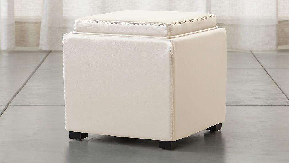 "Stow Alabaster 17"" Leather Storage Ottoman"