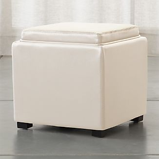 "Stow Alabaster 17"" Leather Storage Ottoman"
