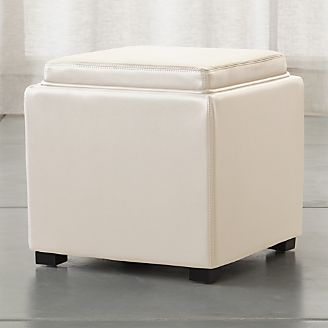 Stow Alabaster 17  Leather Storage Ottoman & Storage Ottomans and Cubes | Crate and Barrel
