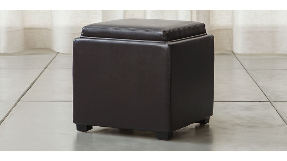 "Stow Chocolate 17"" Leather Storage Ottoman - Image 1 of 10"