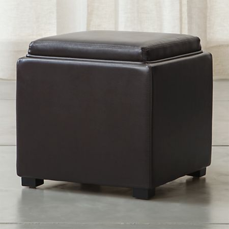Surprising Stow Chocolate 17 Leather Storage Ottoman Gmtry Best Dining Table And Chair Ideas Images Gmtryco