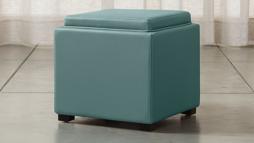 "Stow Ocean 17"" Leather Storage Ottoman - Image 1 of 12"