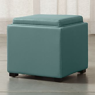 Stow Ocean 17  Leather Storage Ottoman & Leather Storage Ottoman With Tray | Crate and Barrel