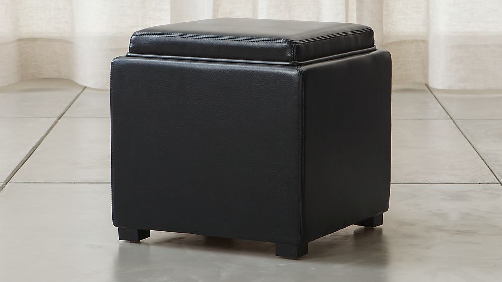 "Stow Onyx 17"" Leather Storage Ottoman - Image 1 of 8"