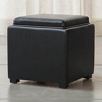 """Stow Onyx 17"""" Leather Storage Ottoman"""