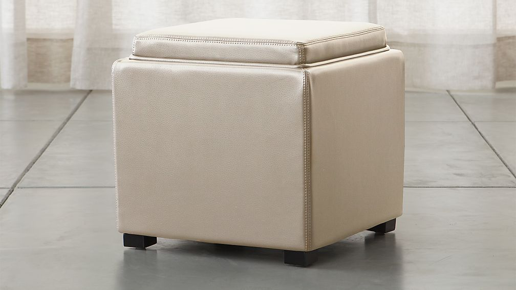 "Stow Oyster 17"" Leather Storage Ottoman - Image 1 of 6"