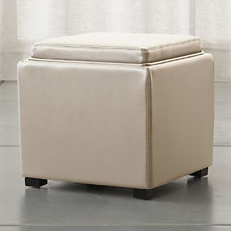 "Stow Oyster 17"" Leather Storage Ottoman"