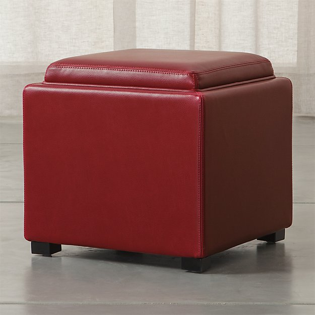 Stow Red 17 Leather Storage Ottoman Crate and Barrel