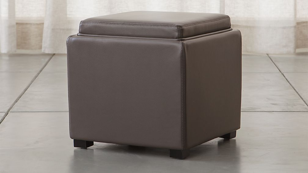 "Stow Smoke 17"" Leather Storage Ottoman - Image 1 of 7"