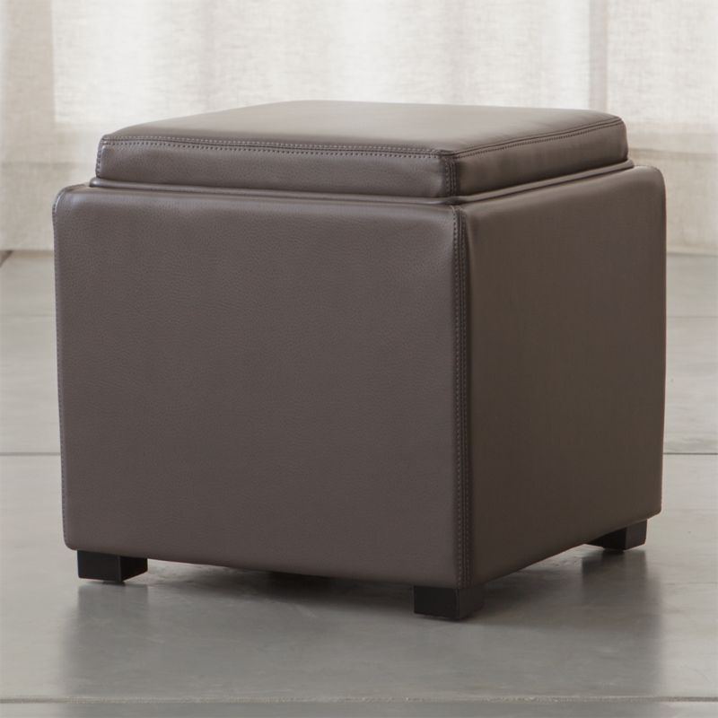 Stow Smoke 17 Leather Storage Ottoman Crate and Barrel