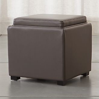 Stow Smoke 17  Leather Storage Ottoman & Storage Ottomans and Cubes | Crate and Barrel
