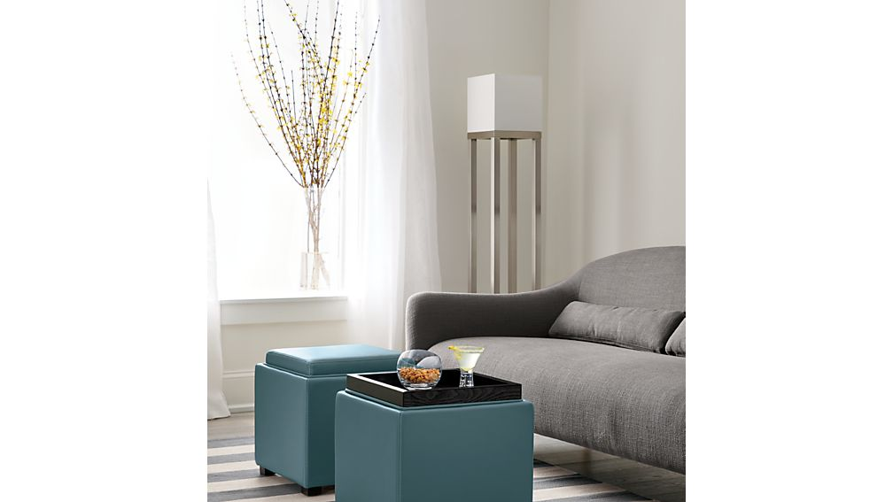 Stow Ocean 17 Quot Leather Storage Ottoman Crate And Barrel