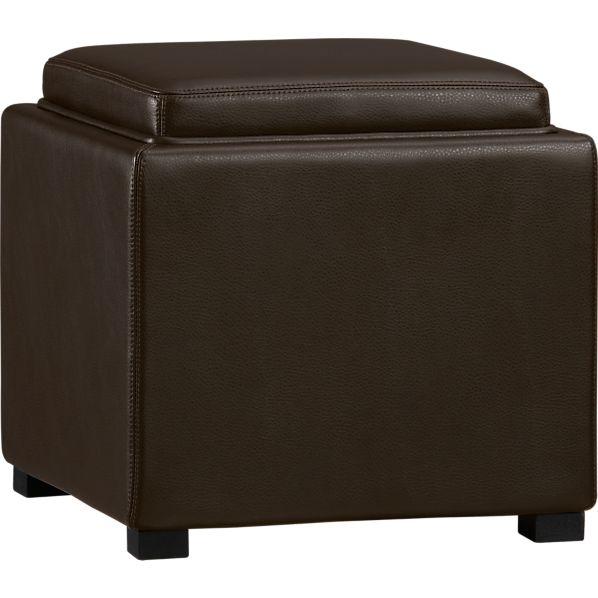 "Stow Chocolate 17.5"" Leather Storage Ottoman"