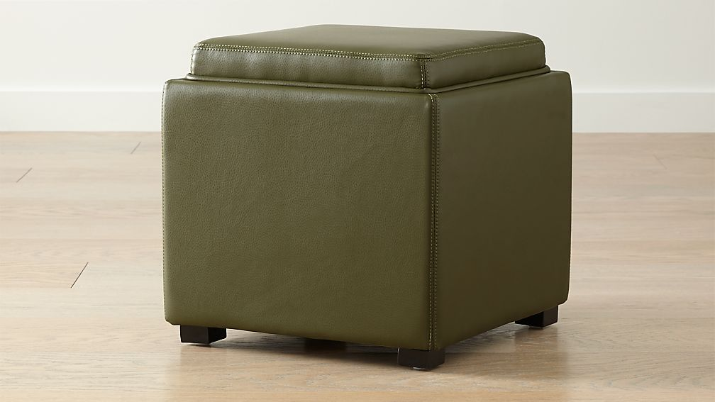 "Stow Olive Green 17"" Leather Storage Ottoman + Reviews"