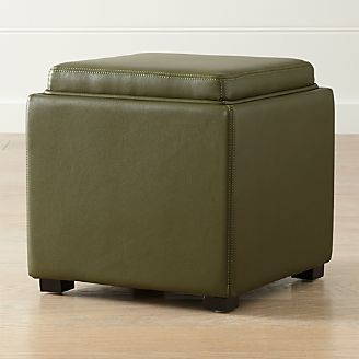 Stow Olive Green 17  Leather Storage Ottoman & Storage Ottomans and Cubes | Crate and Barrel