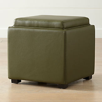 """Stow Olive Green 17"""" Leather Storage Ottoman"""