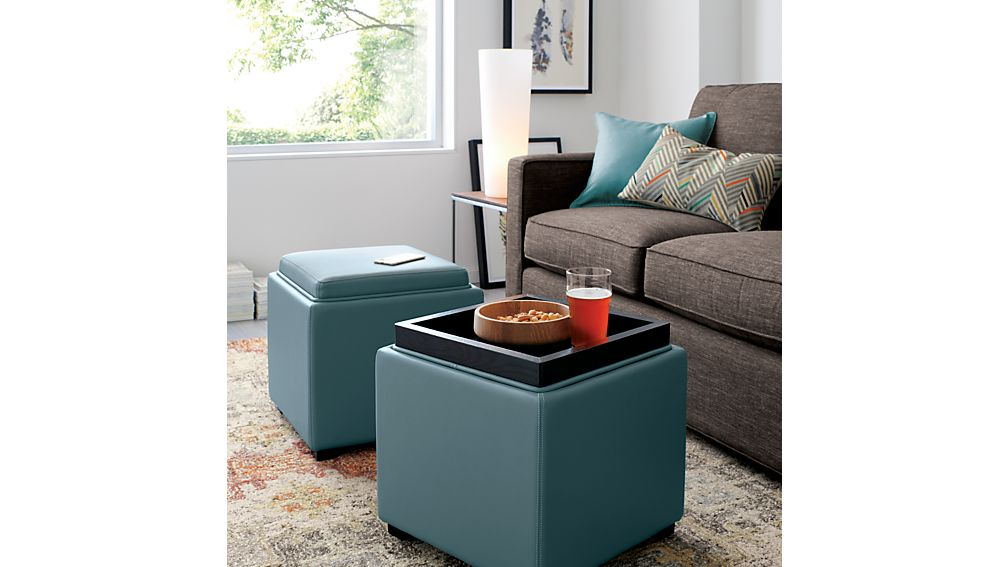 Stow Ocean 17 Leather Storage Ottoman Crate and Barrel