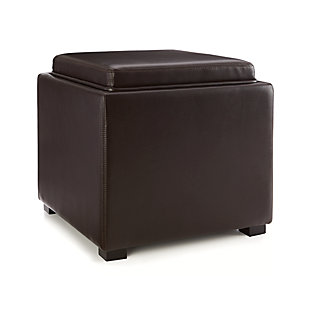 "Stow Chocolate 17"" Leather Storage Ottoman"
