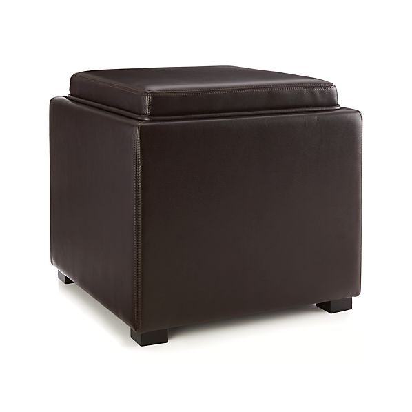 Pleasing Stow Chocolate 17 Leather Storage Ottoman Reviews Crate Gamerscity Chair Design For Home Gamerscityorg