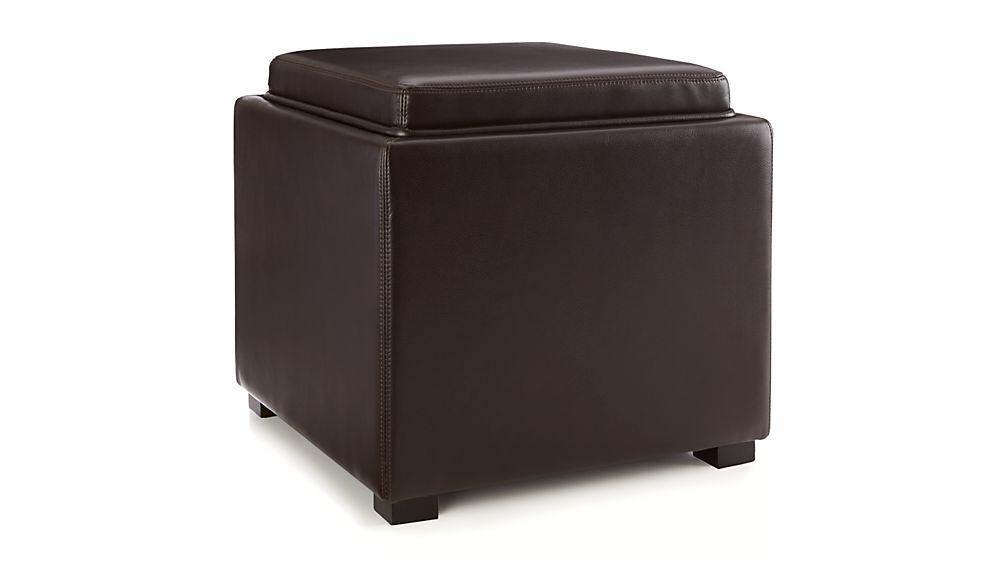 Stow Chocolate 17 Leather Storage OttomanCrate and Barrel