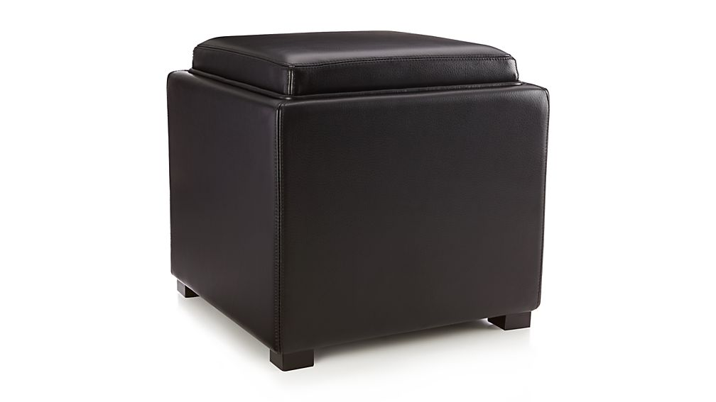 Stow Onyx 17 Leather Storage Ottoman Crate and Barrel