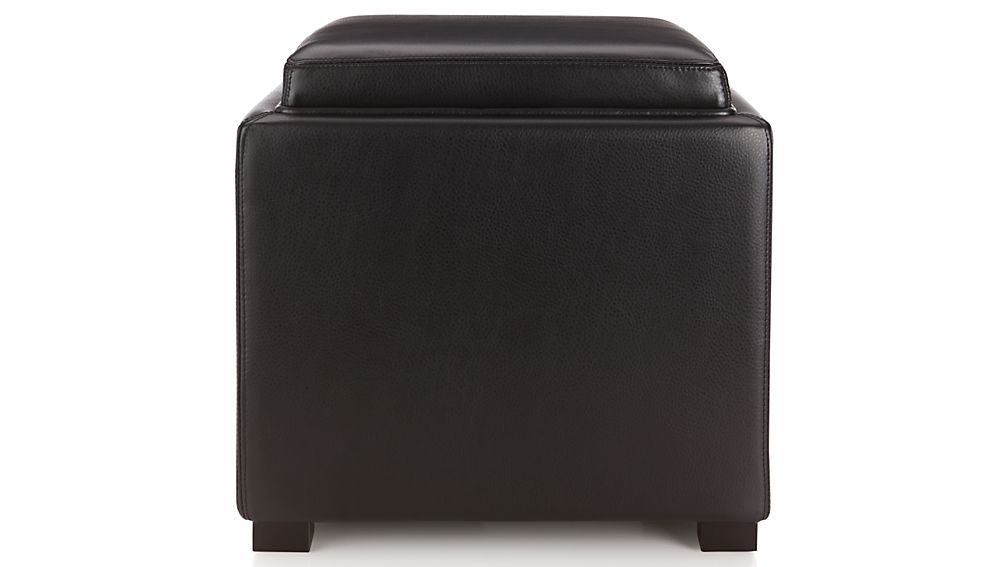 Stow Onyx 17 Leather Storage OttomanCrate and Barrel